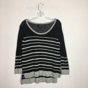 Rag & Bone striped sweater oversized hi low hem S
